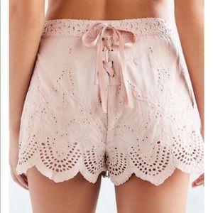 UO Kimichi Blue Scalloped Lace Shorts